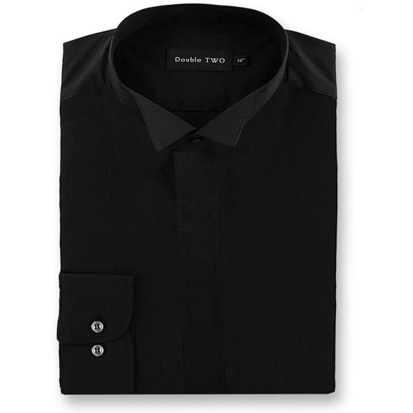 Double TWO Dress Shirt ($44) ❤ liked on Polyvore featuring men's fashion, men's clothing, men's shirts, men's dress shirts, men shirts formal shirts, mens formal dress shirts, mens faux leather shirt, mens long tail shirts, mens formal shirts and mens polyester dress shirts