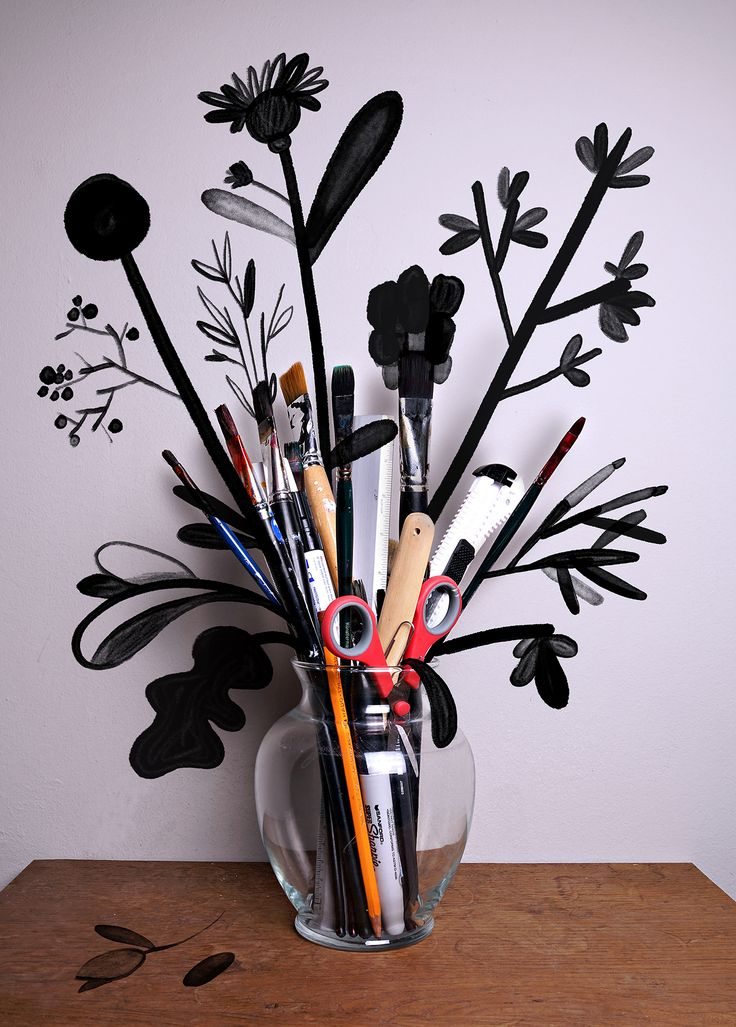 Art supply bouquet by Christoph Niemann