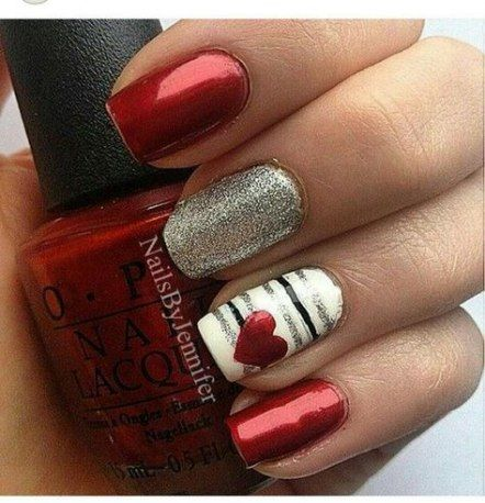 63 ideas nails glitter red valentines day  romantic nails