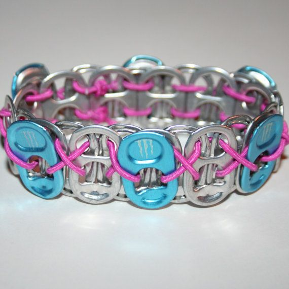 Blue Monster Energy Pop Can Tab Bracelet Pink by eclecticKel, $5.00