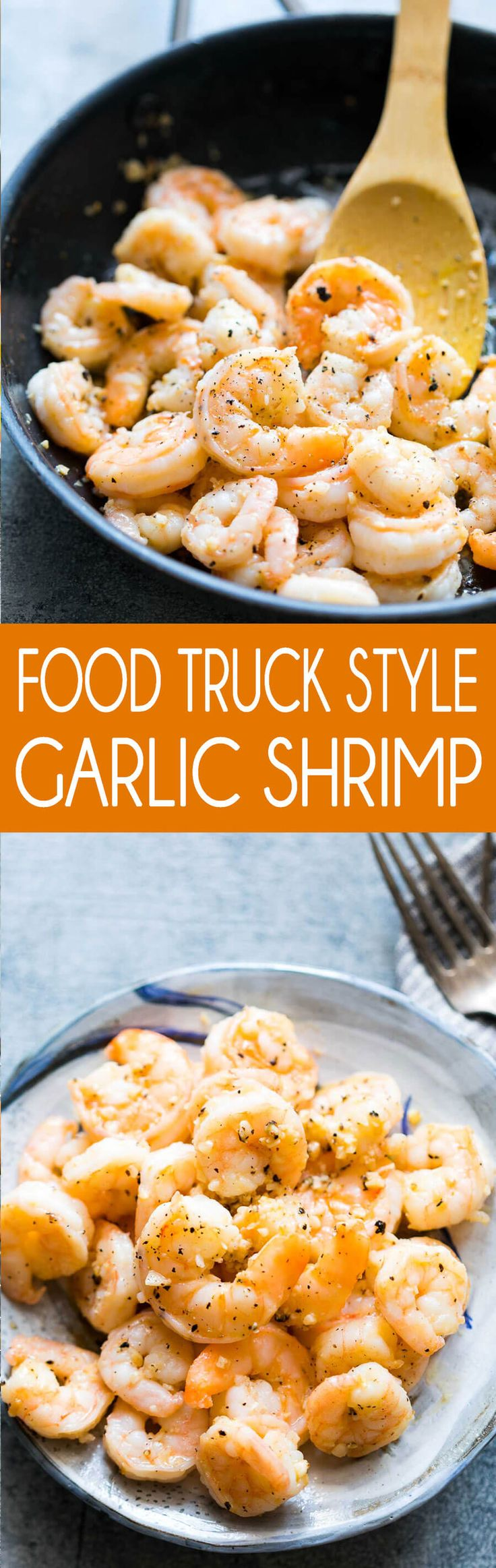 Tasty garlic shrimp, cooked food truck style with tons of garlic and butter, to make these jumbo shrimp juicy and delicious.