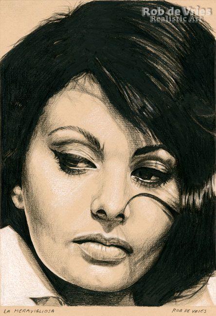 "January 2017, Sophia Loren ""La Meravigliosa"", Charcoal, ink and white chalk on colored paper, 21 x 15 cm. For sale. www.robdevries.com"