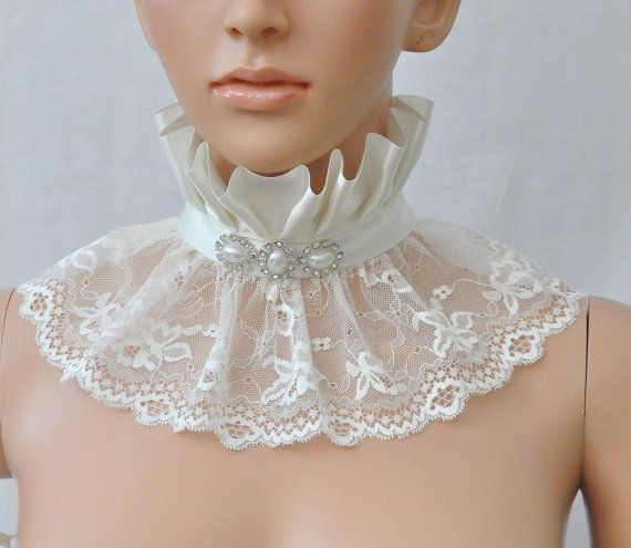 Ivory Victorian Lace Collar Wedding lace choker by Blackpassion