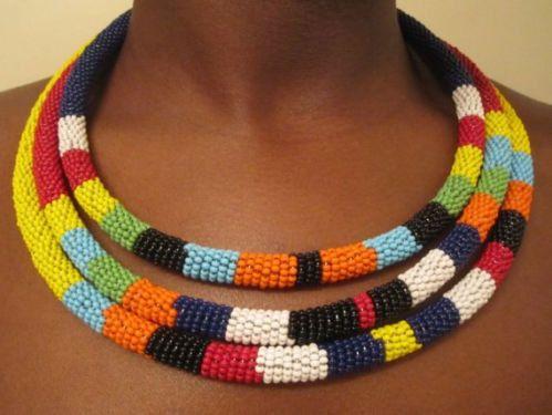 Africaine Massaïs corde encolure/collier de perles, Masai hand made collier (3)