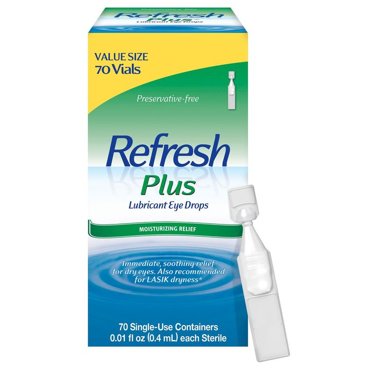 Refresh Plus Moisture Drops for Dry Eyes including Lasik Dryness - 70 Single Use Containers