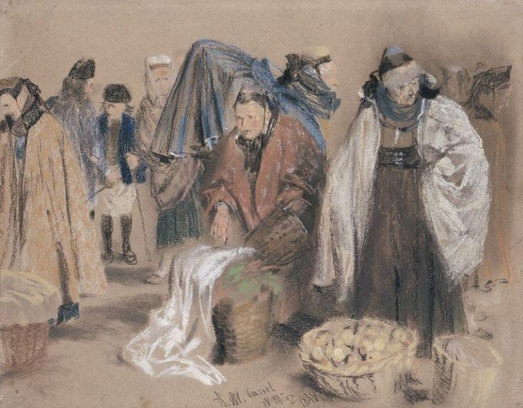 Adolph Menzel - Hessische Bauern auf dem Markt in Kassel