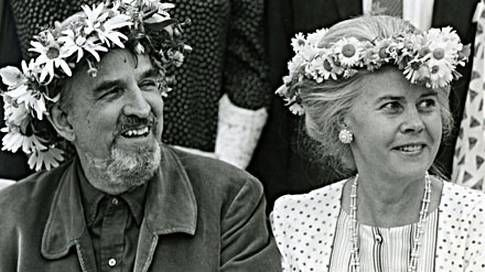 """Ingmar Bergman with the love of his life Ingrid von Rosen; married 1971-1995. Her death was close to breaking him. In one of his last interviews he said that he longingly awaited being reunited with Ingrid, the last in the line of women in his life. """"I think I'll get to meet her in a different reality. I embrace the idea, I do not worry about dying."""" Her children agreed to have her ashes moved, and they are now buried together side by side on Fårö, which was his final wish."""