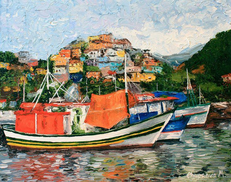 "boats-brazil-favela-oil-painting (бразильские фавелы, картина маслом) ""Sailboat trip in Angra dos Reis "" (40*50 oil/canvas, 2012) ""Морская прогулка в Ангре-душ-Рейш"" 40*50, холст/масло, 2012г  by Chuprova Margarita"