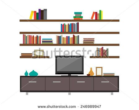 Living room interior with tv and bookshelves