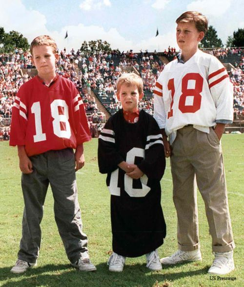 "Peyton Manning, Eli Manning, Cooper Manning.  Peyton looks like he's thinking ""I don't think I'm going to Ole Miss.""  Cooper is thinking, ""I wonder what it would be like to streak on campus."""