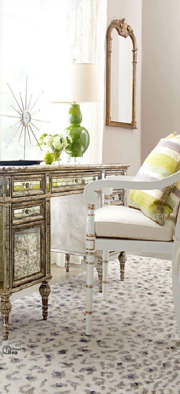 Chic Home Office With Smokey Mirrored Desk And Snow Leopard Rug