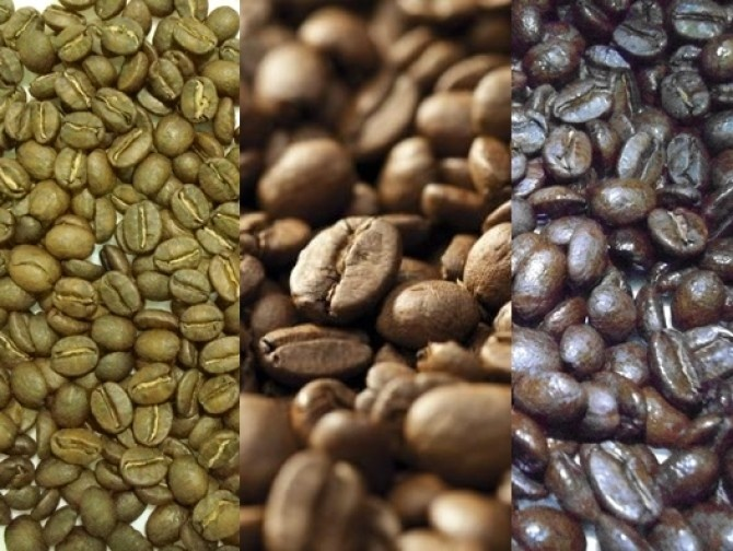 Diferentes tueste del café