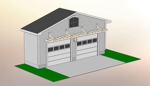 plans for over the door pergolas | Garage Pergola Nos. GP1-GP4 - by Trellis Structures