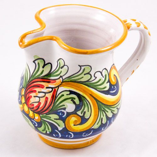 Miscellaneous: #Italy. Milk Jug from #Sicily. Two Red Tulips. #Caltagirone #Ceramics. Hand Made. Volume 0.25L
