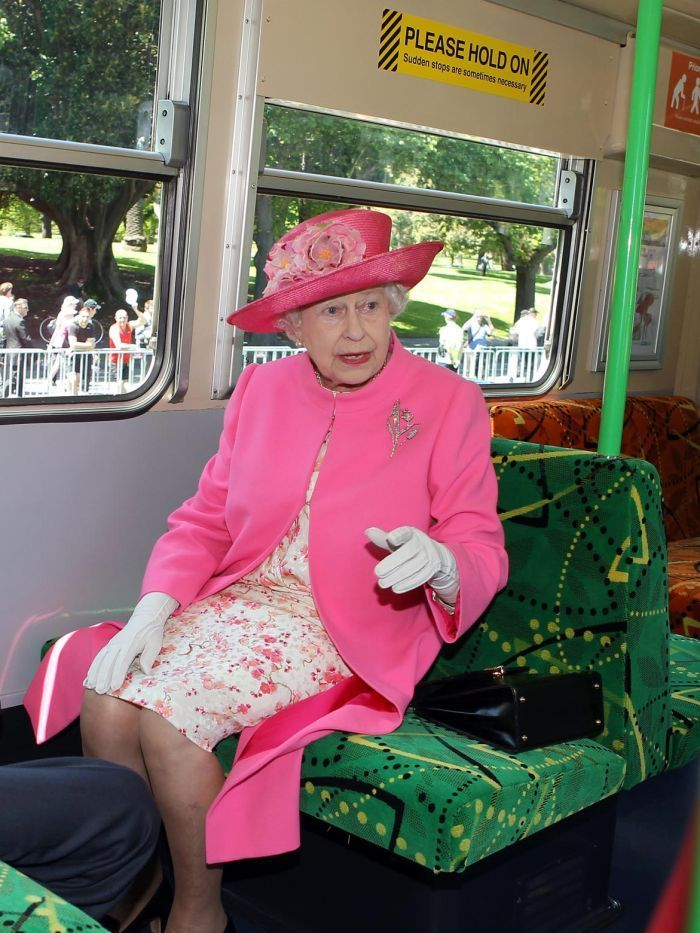 """The Queen of Australia rides a Melbourne tram down to the pub. """"Ticket? No, One doesn't have a ticket...."""""""