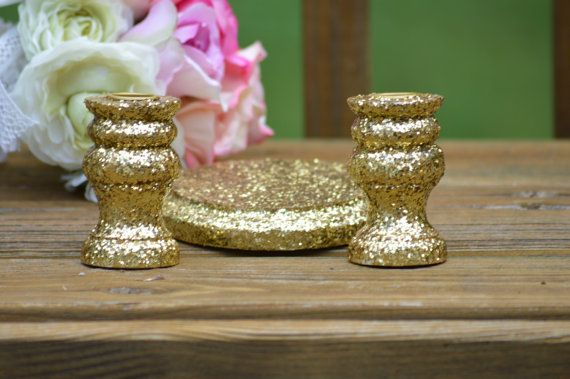 Gold wedding unity candle holders  vintage wedding by PineNsign