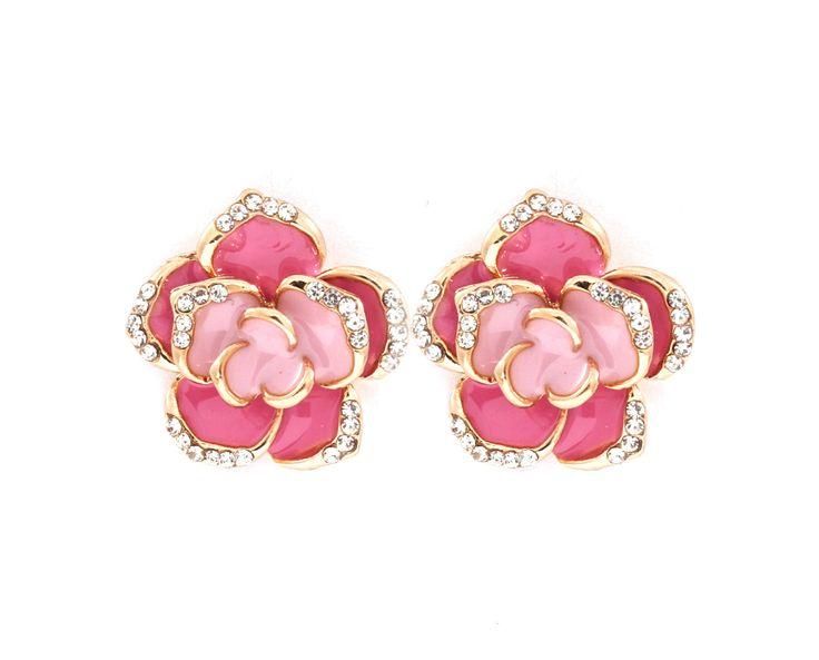 Crystal Rose Petal Earrings in Rosé