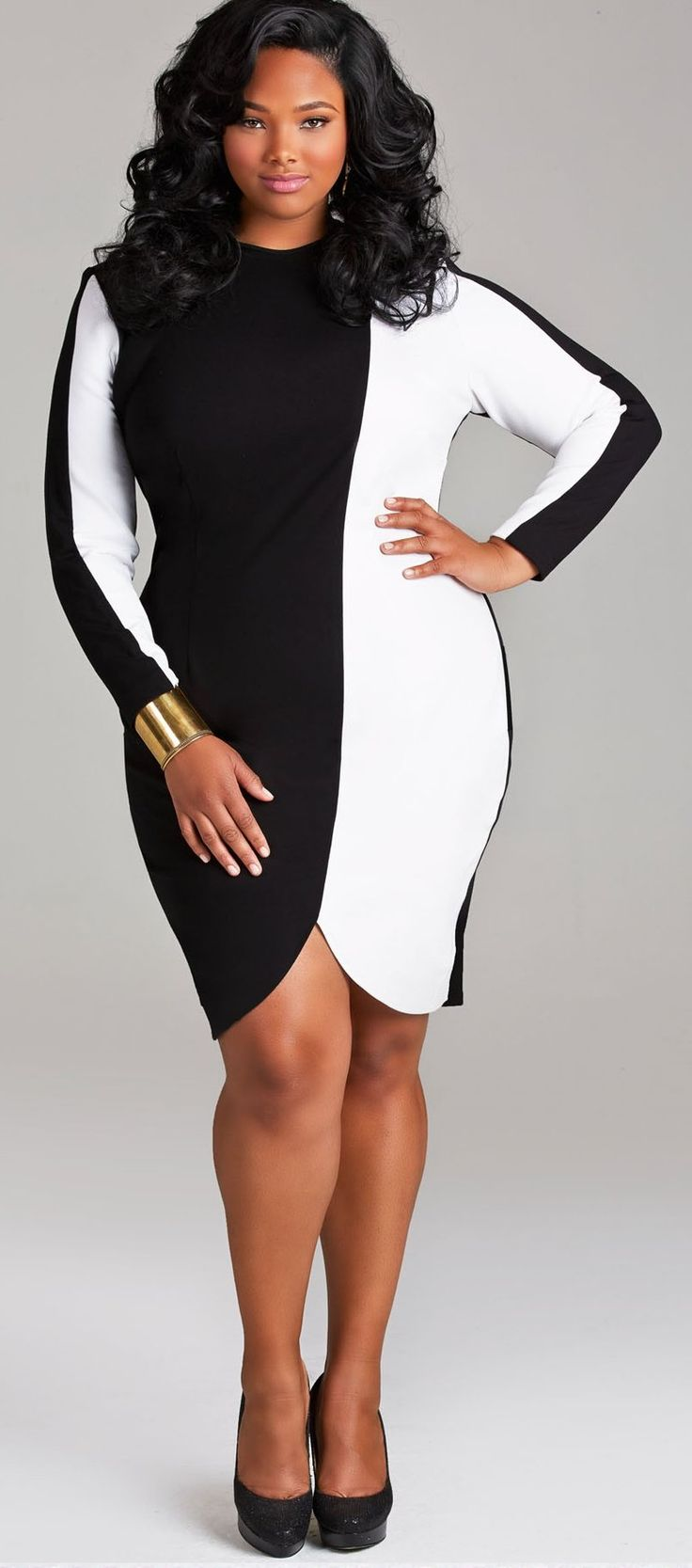 "Anita Marshall in TABITHA"" COLORBLOCK DRESS WITH SCALLOPED HEM"