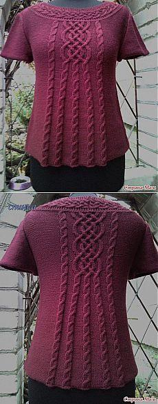 Красивый пуловер спицами.