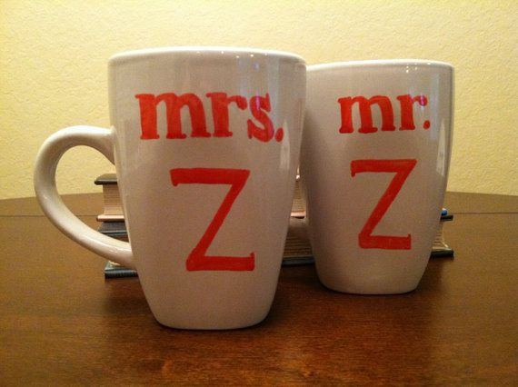 Hand Painted Mr. & Mrs. Initial Coffee Mug by Justabrushandpaint, $15.00
