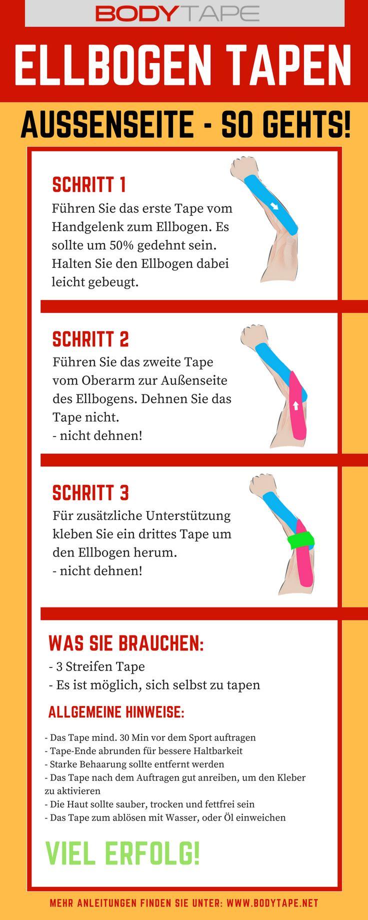 Ellbogen Tapen Außenseite Anleitung - Kinesiologie Tape Anleitung für Ellbogen Außenseite  Mehr Anleitungen : www.taping-guide.com