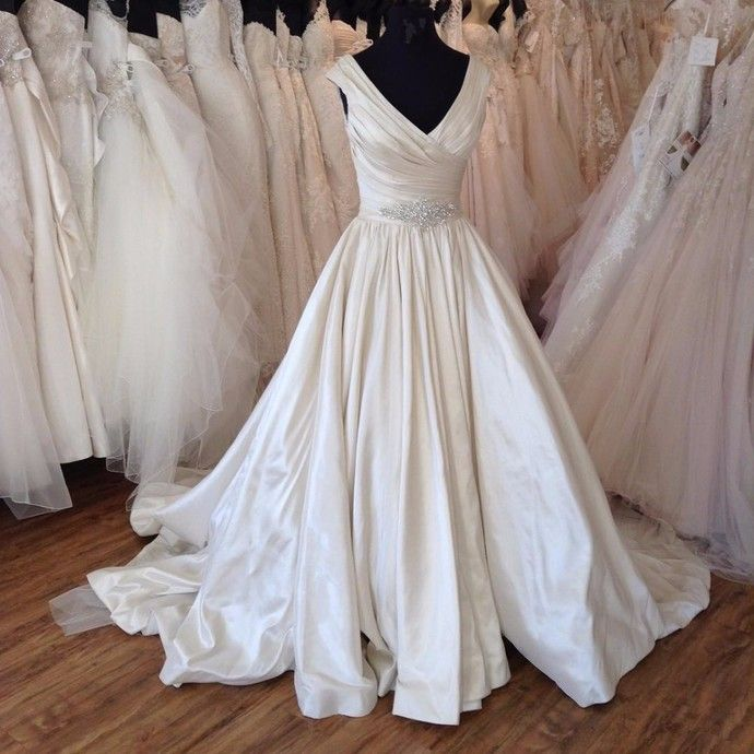 Luxurious Satin Wedding Dresses Ball Gown Wedding Dresses V neck Wedding Dresses  by comigodress, $179.29 USD