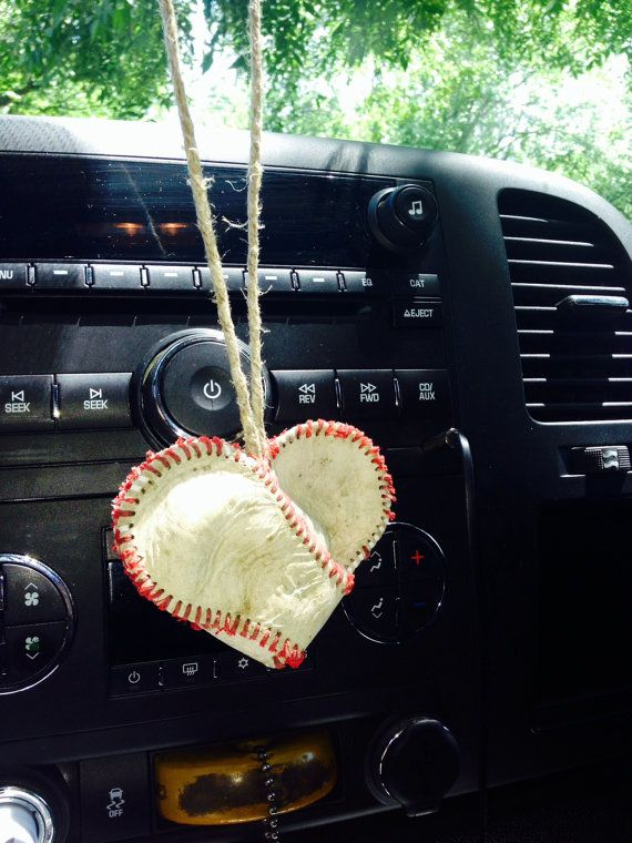 Baseball Heart. Hang From Rearview Mirror. Baseball by ShabbyWorks
