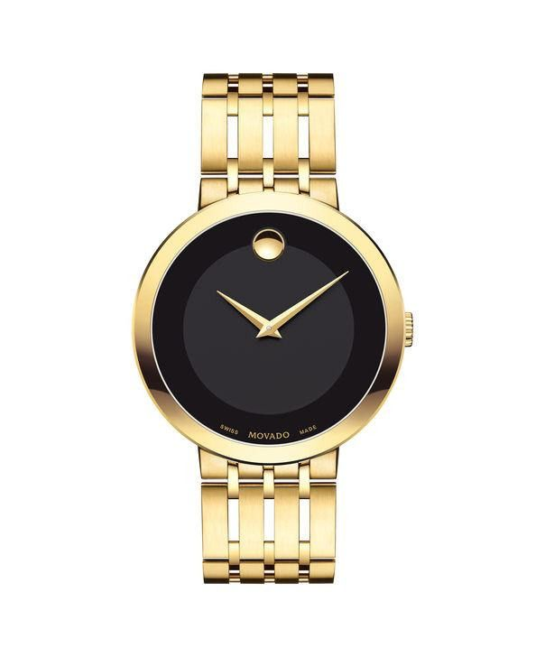 Movado Men's Esperanza Yellow Gold PVD Stainless Watch with Black Museum Dial 0607059