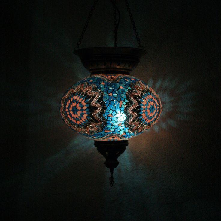 XXLarge Pink & Blue Turkish Mosaic Lamp Shade