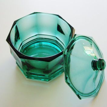 Vintage Candy Dish Teal Hexagonal Lidded Indiana Glass