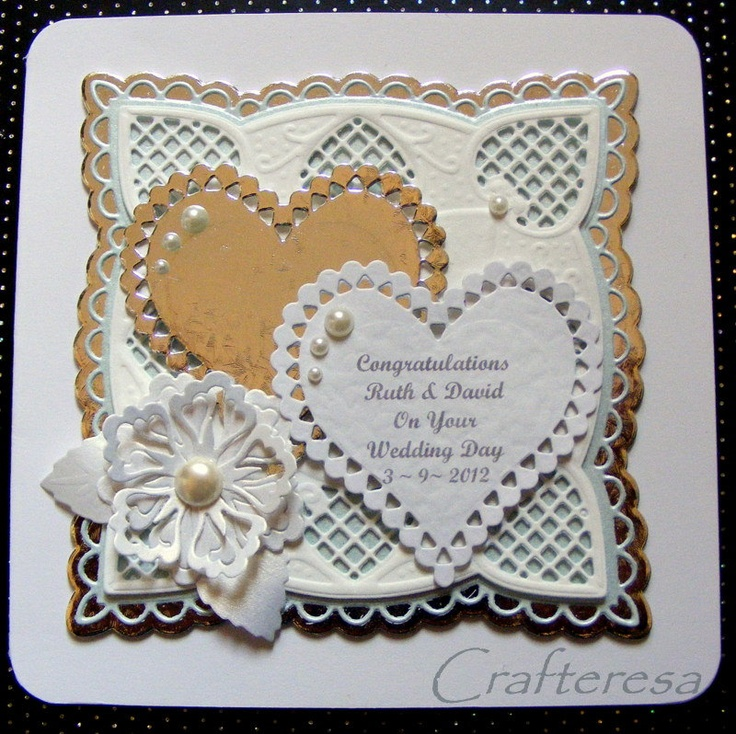 Wedding Day Personalised Card Elegant LACEY layererd top With HEARTS KEEPSAKE. £4.99, via Etsy.