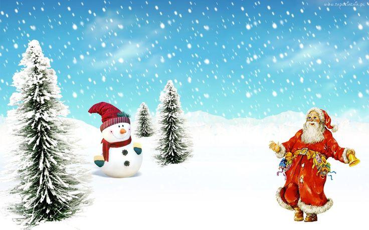 Zima, Choinki, Bałwan, Mikołaj