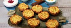 Latke Muffins Recipe | The Chew - ABC.com Latke Muffins • canola oil or non-stick cooking spray (to grease) • 1 large yellow onion (peeled, cut into chunks) • 4 large Russet potatoes (peeled) • 2 large eggs • 1/4 cup matzo meal • 1 teaspoon baking powder • 1/2 teaspoon salt • 2 tablespoons olive oil (to drizzle) • Kosher salt and freshly ground black pepper (to taste)