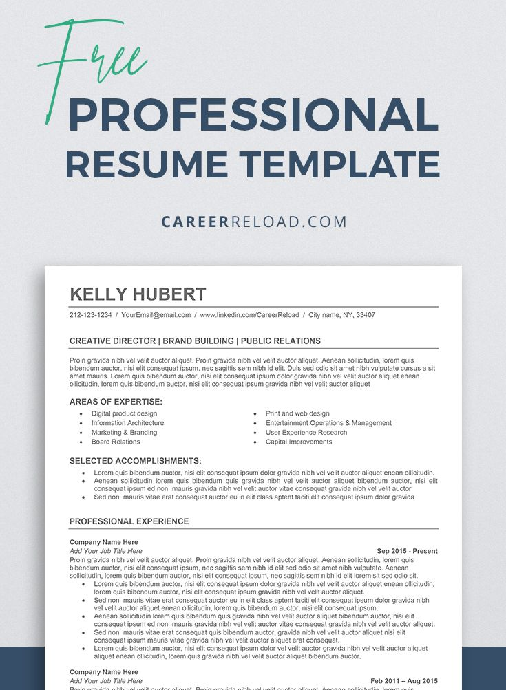 Free ats resume template for microsoft word executive