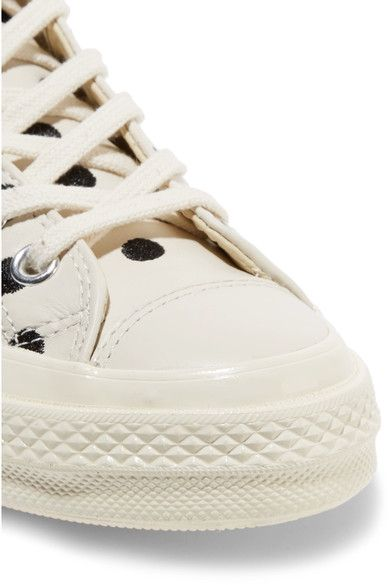 Converse - Chuck Taylor All Star Embroidered Leather Sneakers - Off-white