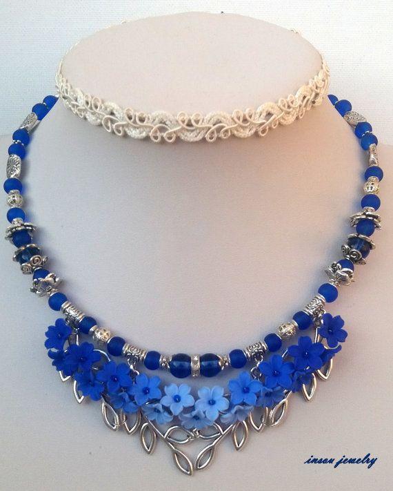 Blue Jewelry Blue Flowers Jewelry Pendant Earrings by insoujewelry