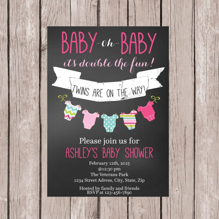 baby shower invitation for twins%0A PRINTABLE Twin Girls Baby Shower invite Chalkboard Baby Shower Invite Baby  Shower Invite