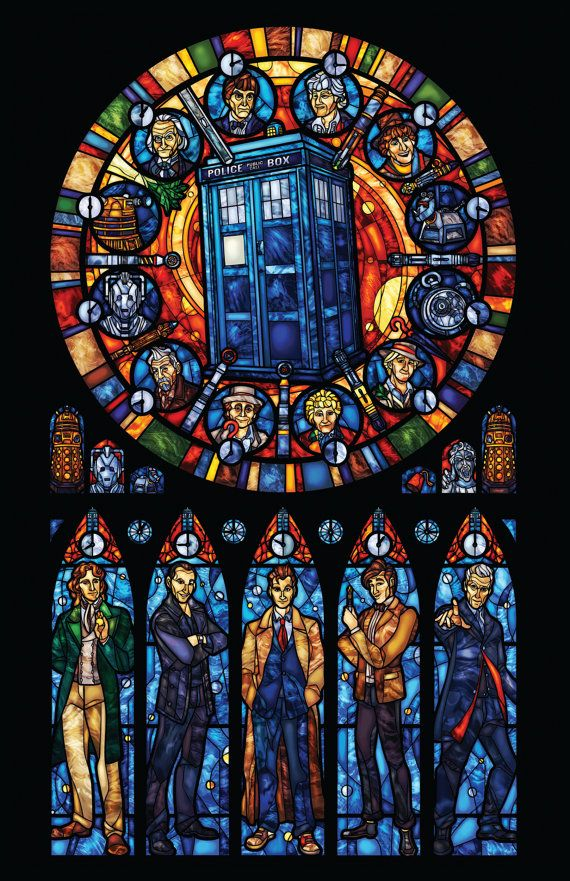A print that imitates the look of stained glass. Just tape it up in the window and viola, instant stained glass. This window features the Doctor