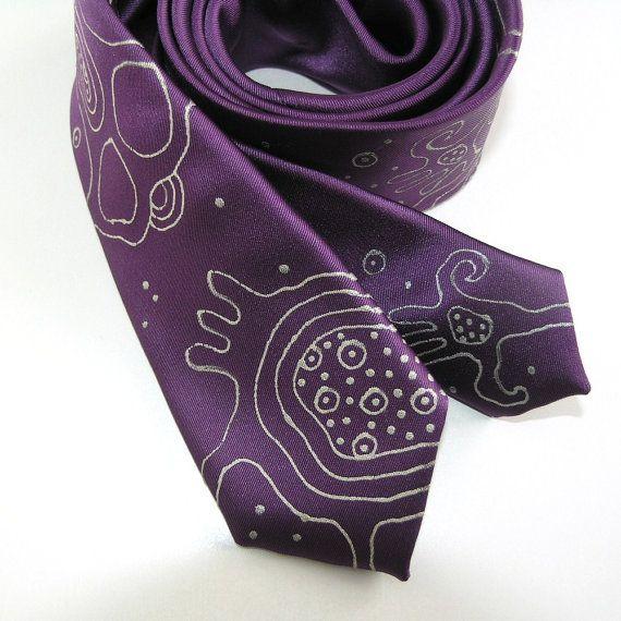 Men Necktie Tie Skinny Exclusive Deep Purple by AudraTextileStudio, $40.00