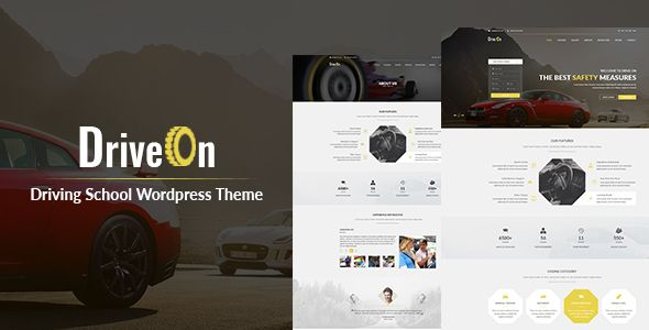 DriveOn ¨C Driving School WordPress Theme by HasTech DriveOn is a dedicated theme for driving and traffic schools, automobile websites, advanced driving courses and other car resource