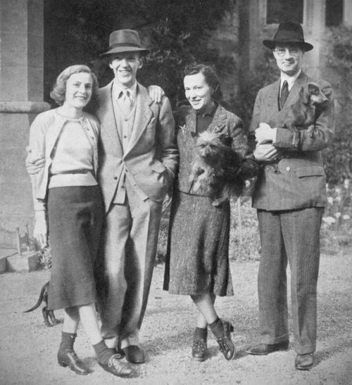 Mr. and Mrs. Fred Astaire with Lord and Lady Charles Cavendish photographed on the day brother Fred and wife arrived at Lismore Castle from America to stay with sister Adele and her husband at their home in County Waterford, Ireland, 1939.