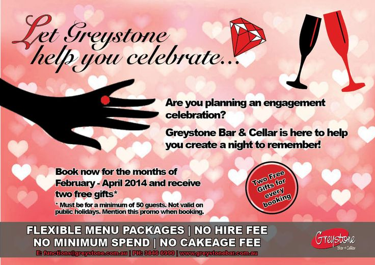 Greystone Bar & Cellar | Engagement Functions Promotions | A flyer to promote a function deal that was being promoted