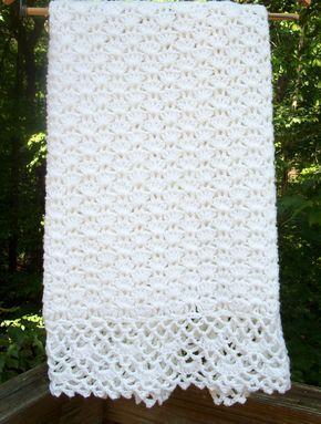 Crochet Baby Blanket ... Baptism Blanket ... READY TO SHIP ...