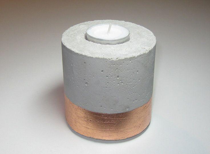 Teelichthalter Beton kupfer von CharLen auf DaWanda.com
