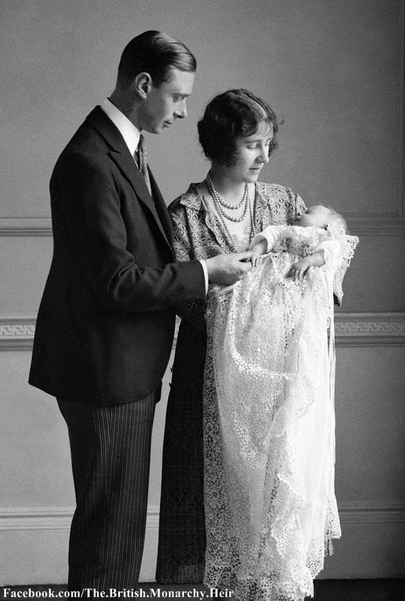 The Duke and Duchess of York with Princess Elizabeth at her christening, 29 May 1926. The Princess was christened Elizabeth Alexandra Mary, in the private chapel at Buckingham Palace. She was named after her mother, whilst her two middle names are those of her paternal great-grandmother, Queen Alexandra, and paternal grandmother, Queen Mary. ♔