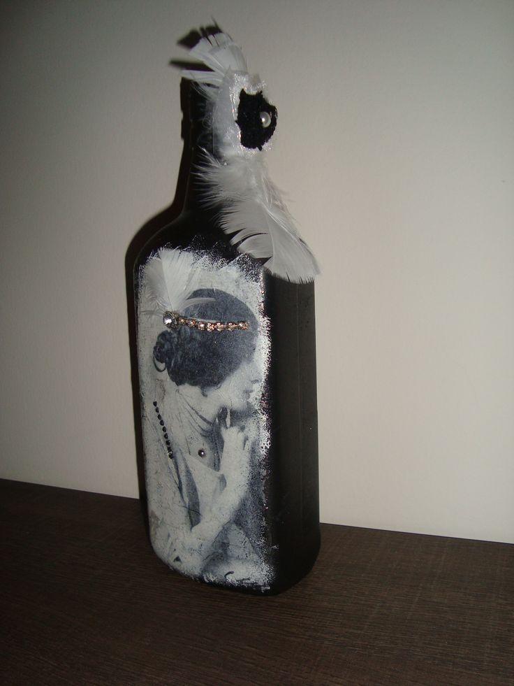 Altered decoupage bottle