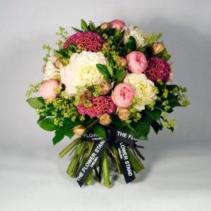 Rima Celosia, White or Pink Dahlias, Bridal Piano Spray Roses and Alchemilla