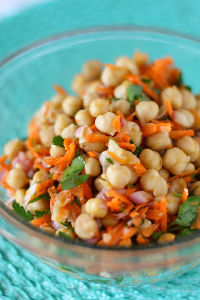 Warm Chickpea Salad with Shallots & Red Wine Vinaigrette