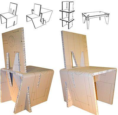 REVISTA DIGITAL APUNTES DE ARQUITECTURA: Algunas sillas de cartón , listas para armar y usar