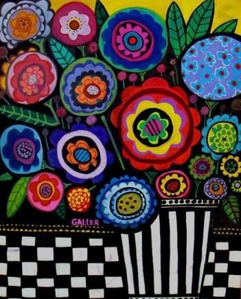 Folk Art Modern Flowers Art Print Poster Black by HeatherGallerArt, $24.00